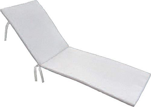 PEGANE Coussin Bain de Soleil déhoussable Coloris Blanc - Dim : 190 x 60 x 5cm