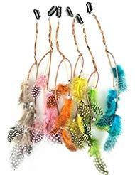 Fodattm 6pcs ragazze donna Handmade colorato boho hippie extension per capelli con piuma clip pettine Tornante copricapo fascia accessori fai da te