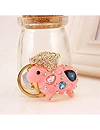 Banggood ELECTROPRIME Crystal Keyring Charm Pendant Bag Key Ring Chain Keychain Pink Sheep