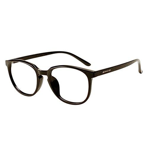 Zhuhaixmy TR90 Leichtgewicht Kurzsichtigkeit Linsen Brille Groß Runde Rahmen Bambus Holz Temple Eyewear Frau Männer Retro Kurzsichtig Eyeglasses Stärke -0.5~-6.0 (Dies sind keine Lesebrillen)
