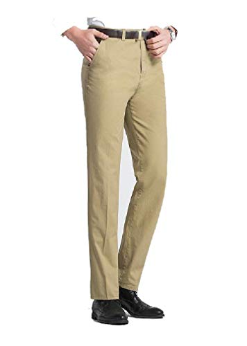 CuteRose Men's Flat-Front Relaxed Long Fit Straight Leg Dress Chino Pant AS3 31 Free Flat Front Pant