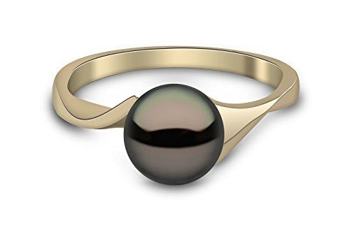 Kimura Pearls Armband Gelbgold 9ct Schwarz Süßwasser-Perle Ring–Größe L RN0062–201BL (Süßwasser Schwarz Perle Ring)