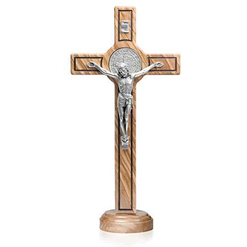Benediktus Standkreuz - Stehkreuz - Kruzifix Olivenholz Jesus Korpus INRI Benediktusmedaille Metall Altarkreuz 15 x 8 cm Trauerkreuz