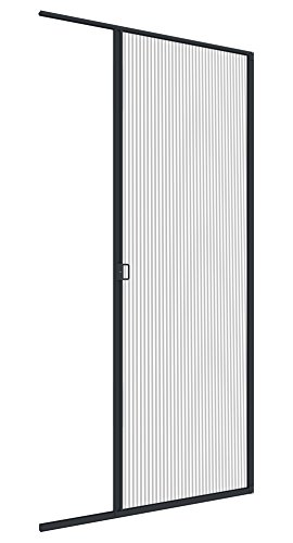 Windhager Insektenschutz Plissee-Tür Expert Fliegengitter Alurahmen für Türen, individuell Kürzbar, ExtraGross, 120 x 240 cm, anthrazit
