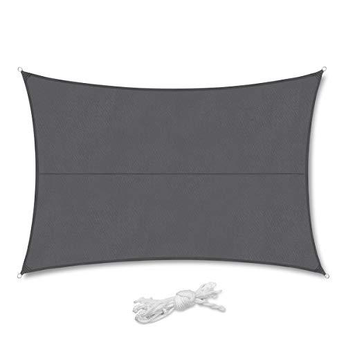 Sekey Sonnensegel Sonnenschutz Polyester Windschutz Wetterschutz Wasserabweisend Imprägniert 95% UV Schutz, Exquisites Detail, Überlegene Reißfestigkeit für Outdoor mit Seilen, 3×4m Anthrazit