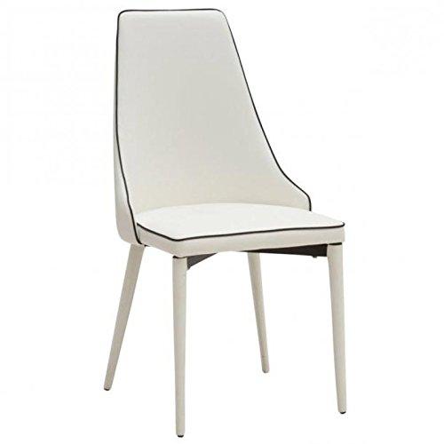 Bois & Design Chaise Design Moderne rembourrée en Tissu Bord Noir Couleur Blanc