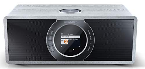 SHARP DR-I470 (GR) Stereo Internetradio/DAB, DAB+ Digitalradio, WiFi-Streaming, Bluetooth, DLNA, Farbdisplay, FM Radio, Alarm-/Schlaf und Snooze-Funktion, 30 Watt, Grau (Fernbedienung Stereo Sharp Für)