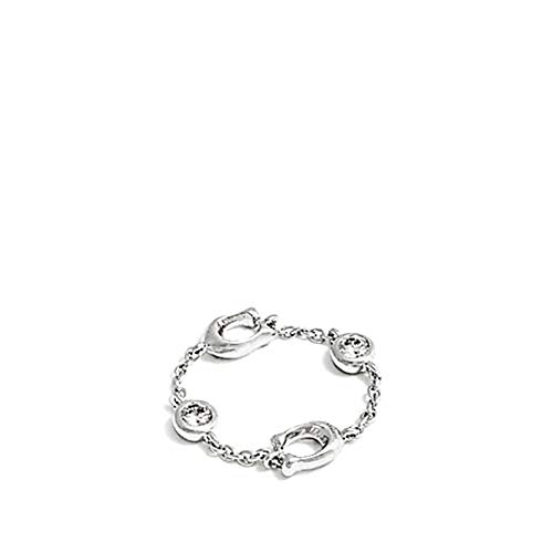 Coach Signature C Chain Linked Ring Silver/Crystal F37668 (51 (16.2))