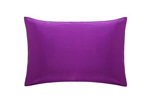 cosfy seta federa per pelle e capelli 19Momme Charmeuse di seta di gelso tessuto entrambi i lati avorio Standard 50X 75CM King Puro, 50x 90cm, Seta, Violet, King