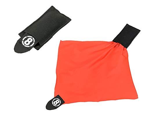 KOSxBO® Airsoft Deathrag - Taktische Molle Weste - Softair Hittuch - Warnweste - Hit Tuch - Tasche schwarz - orange Softair Zubehör Ausrüstung Airsoft