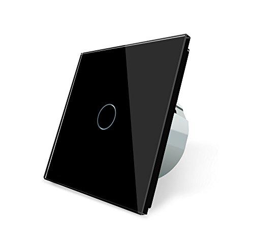 Preisvergleich Produktbild Design Glas Touch Lichtschalter 1 fach Ein/Aus schwarz
