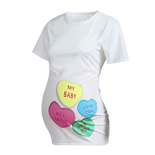Kleidung Schwangere Frauen der Valentinstag-Frauen Kurzarm-Herz-Buchstabe-Druck-Spitzen-T-Shirt Kleidung Damen-Umstandsmoden-Lagendesign-Wickeln-Schicht (Valentinstag-kleidung Für Frauen)