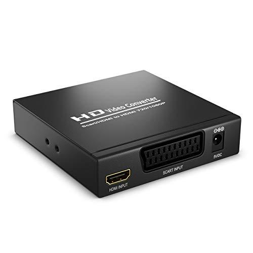 SCART zu HDMI Konverter mit Audio Extractor CVBS RGB SCART + HDMI Eingang auf HDMI Ausgang Koaxial + 3,5mm Audio Ausgang SCART auf HDMI - Rgb-koaxial