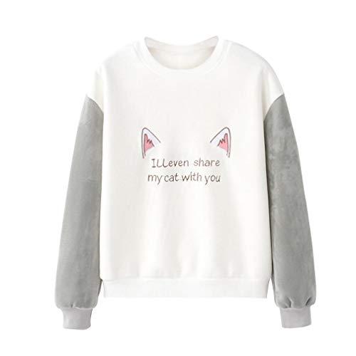 ABsoar Sweatshirt Damen Cartoon Katze Shirt Langarm Druck Pullover Pulli Langarmshirt Blusen Lässiges Pulli Oberteile Jumper Streewear