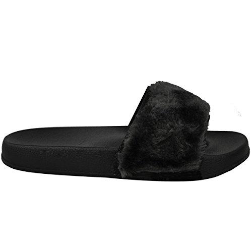 8280e9e32c56 Ladies Furry Rihanna Fenty Inspired Flat Slider Sandals Mules Shoes Size  Farrah - Black - 4