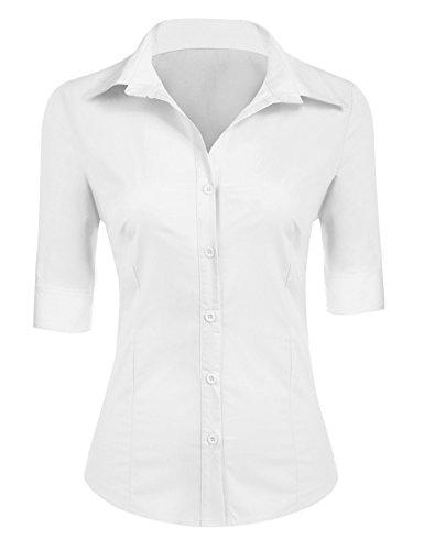 BeautyUU Damen Hemd Bluse Basic Hemd 3/4 Ärmel Hemdbluse Damenbluse Arbeitshemd Freizeithemd Business Hemd Weiß S