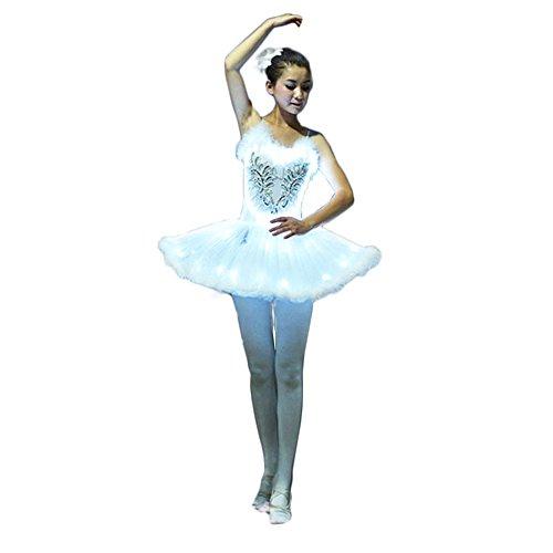 Christmas Party Tanz Kostüm - Wantschun Erwachsene Damen LED Ballett Kleid weiß Leuchten Tutu Kostüm Party Karneval M