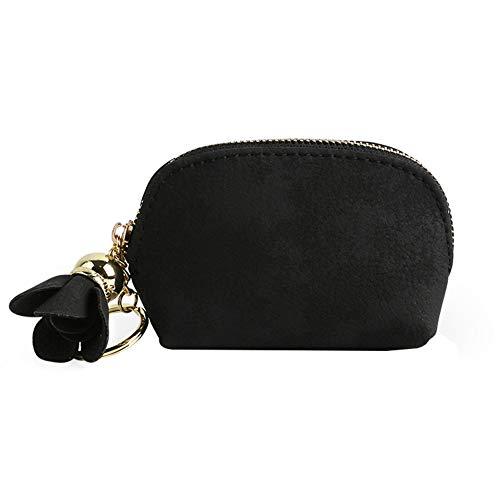 Mackur Brieftasche mit Quaste Design GeldbörseMünztasche Schlüsseletui Stoff Geldbörse 1 Stück (Schwarz)