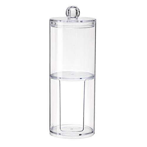 YAHUA LI Zwei-Schicht-PS tragbare runde Wattepad Aufbewahrungsbox, Badezimmer Vanity Storage Organizer Kanister Gläser für Wattebäusche, Make-up Schwämme, Schmuck (Kanister Ball-küche)