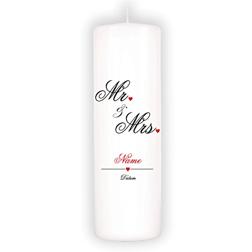 geschenke-online Hochzeitskerze - Mr. & Mrs. - mit Aufdruck des Nachnamens und Hochzeitsdatum