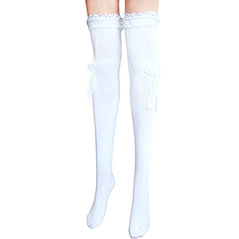ladies sexy thigh high cotton stockings over knee hold ups socks with lace & bow L/XL (white)