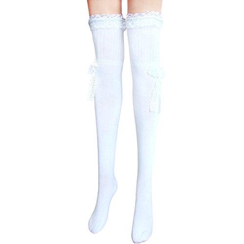 JHosiery Damen Baumwollstrümpfe mit Spitze (Weiß)