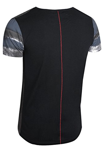 trueprodigy Casual Herren Marken T-Shirt mit Aufdruck, Oberteil cool und stylisch mit V-Ausschnitt (kurzarm & Slim Fit), Shirt für Männer bedruckt Farbe: Rot 1072132-1550 Ombre Blue