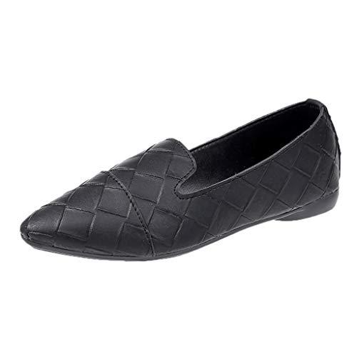 DOLDOA Sommerturnschuhe,Frauen Schuhe Elegante Low Heels Slip Spitz Flache Ferse Casual Jobs Schuhe (38 EU, Schwarz) Low Heel Slip
