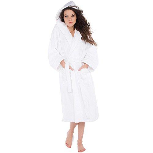 Weißer Baumwoll-biese (Bademantel für Damen Herren Baumwolle Frottee Saunamantel mit Biese und Kapuze aqua-textil Morgenmantel Amrum 0010016 M weiß)