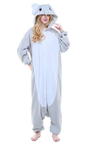 Kostüm Damen Elephant (Canasour Polar Fleece Brown Sloth Women's Unisex Pajamas (L, Grey Elephant))