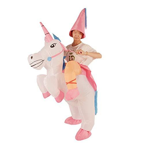 Happyyami Aufblasbares Einhorn Kostüm Aufblasbares Einhorn Halloween Kostüm für Kinder ohne Batterie