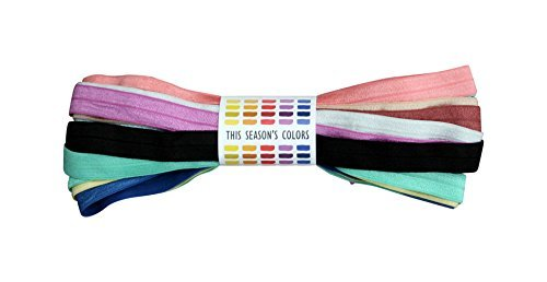 This Season's Colors Supplies & Accessories Inc. 5/20,3 cm Fold Over Elastic Stück Sortiert Modische Farben; Stretch Trim FOE 20 Yards: 2 Yards Each of 10 Colors Mehrfarbig