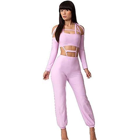 Ladies Pink Cut Out Jumpsuit Body Catsuit Club Wear TAMAÑO M UK 10
