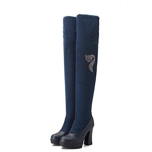 AgooLar Damen Hoher Absatz Blend-Materialien Oberschenkel Hohe Rein Ziehen Auf Stiefel Blau