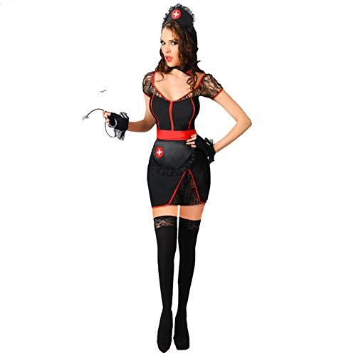 Kostüm Braut Mitternacht - AINI Cosplay Halloween Party Outfit für Erwachsene, sexy Mitternacht Krankenschwester minikleid Halloween kostüme, Stirnband + Kragen + Handschuhe + Kleid-S