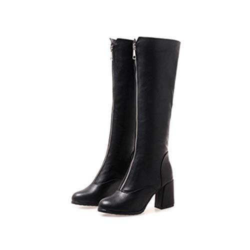 MENGLTX High Heels Sandalen New Big Small Size 32-46 Knie Stiefel Frauen High Heels Herbst Winter Schuhe Frau Round Toe Zip Knight Stiefel 18-67 11 Schwarz Knight Zip