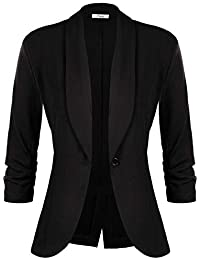 0bf32a6e iClosam Women's 3/4 Ruched Sleeve Blazer Open Front Lightweight Office  Cardigan Jacket