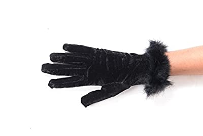 Devil Elegant Girl's Winter Warm Velvet Cashmere Fur Wrist Gloves| Pure Color Mittens (Black)
