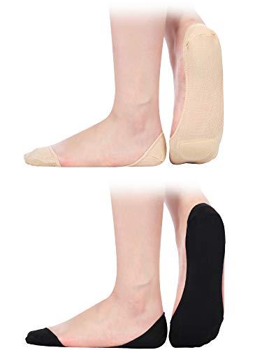 6 Paare Damen Slingback Socken Half Liner Socken Low-Cut Keine Show Gepolsterte Socken (Stil 2, Schwarz und Hautfarbe)