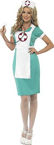 Smiffy's 25870X1 - Damen Krankenschwester Kostüm mit eingenähter Schürze und Kopfbedeckung, Größe: 48-50, (Mad Krankenschwester Halloween Kostüm)