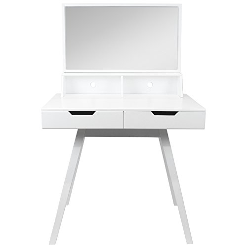 Modern White Dressing Table: Hartleys White Modern Dressing Table & Mirror