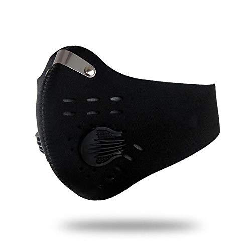 Sddlng Einfarbige Reitmaske, staubdicht und beschlagfrei, mit Filterfilter und Ventil für Auspuff, Pollenallergie, PM2.5-Reiten und Laufen im Freien,Black