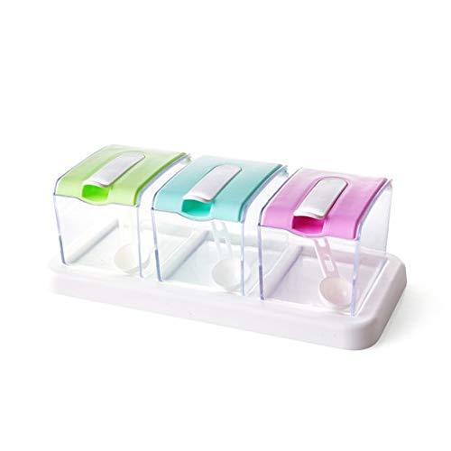 FS Kunststoff-Gewürzbox, Multicolor-Kombinationsquadrat-Gewürzglas Flip-Mehrfarben-Gewürzglas (Farbe : Three styles)