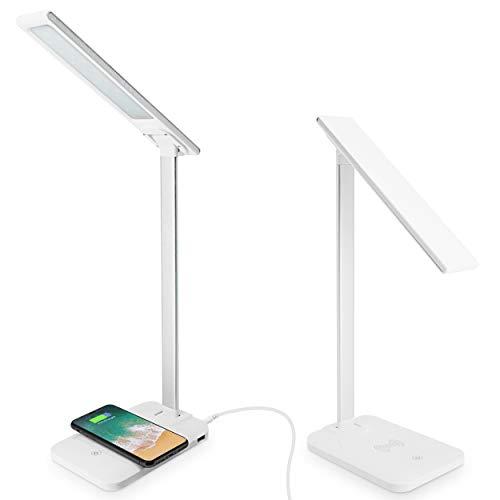Lampada da Tavolo a LED, Lampada Scrivania Studio, Dimmer Touch, Folded, Supporta la Ricarica Wireless QI, Porta di Ricarica USB, per iPhone X e Altri Smartphone