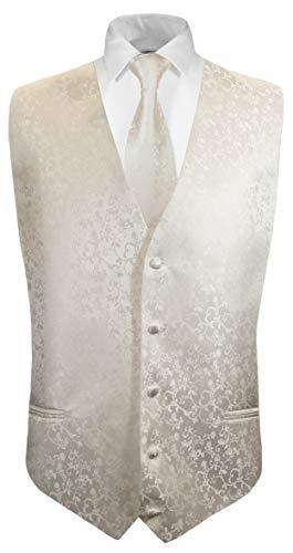 Elfenbein Weste (Paul Malone Hochzeitsweste + Krawatte Ivory Elfenbein floral - Bräutigam Hochzeit Herren Weste)