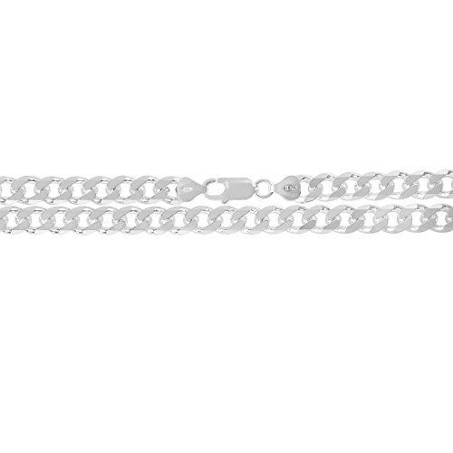KEZEF Creations Herren 8mm 925 Sterling silber kubanischen Bordstein Link Kette Armband 9 Zoll