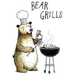 Lustige Geburtstagskarte der Reihe Young At Heart mit Motiv eines grillenden Bären