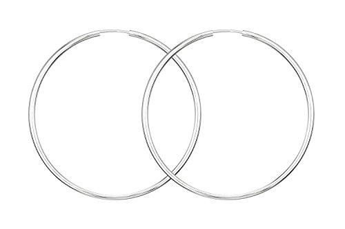 Ohrringe, Creolen, Weißgold 585/14 K, Außendurchmesser 50 mm, Breite 2 mm, Gewicht ca. 2.4 g, NEU