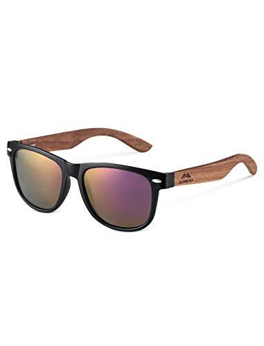 Amexi Herren Damen Polarisierte Sonnenbrille, Unisex Holz Sonnenbrille, UV400 Schutz (Violett)