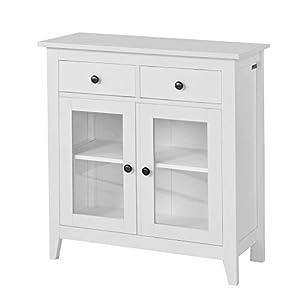 SoBuy® Kommode, Flurschrank, Wohnzimmerschrank, Sideboard, Küchenschrank mit 2 Schubladen und 2 Glastüren, B80XT32XH86cm, weiß, FSB05-W